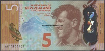 Picture of New Zealand,P191,B137,5 Dollars,2015
