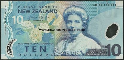 Picture of New Zealand,P186,B132g,10 Dollars,2013