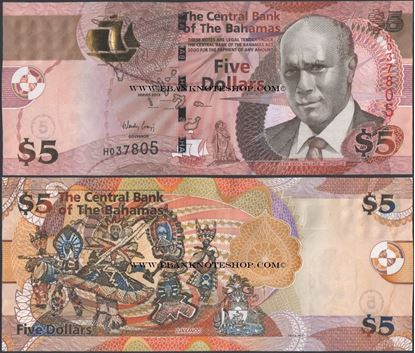 Picture of Bahamas,P72A,B345,5 Dollars,2013