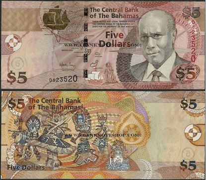 Picture of Bahamas,P72,B338a,5 Dollars,2007