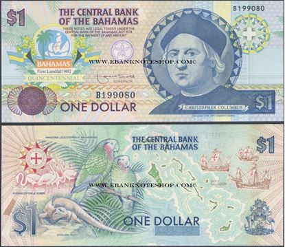 Picture of Bahamas,P50,B315,1 Dollars,1992,Comm