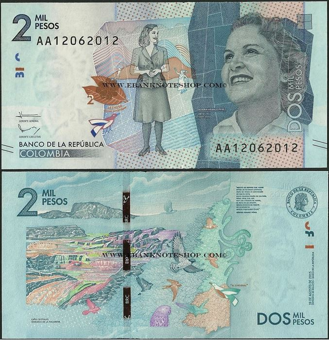 P-New 2016 AA-Prefix 5,000 5000 UNC Colombia Pesos 2015