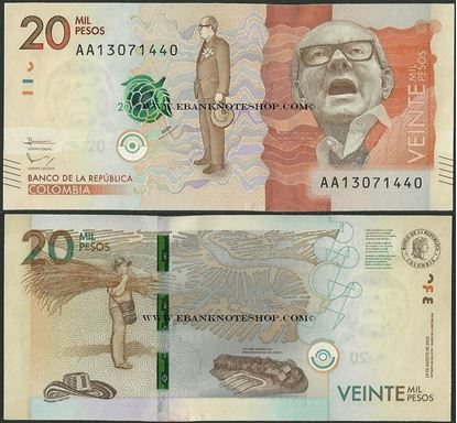 Picture of Colombia,P461a,20 000 Pesos,2015,AA