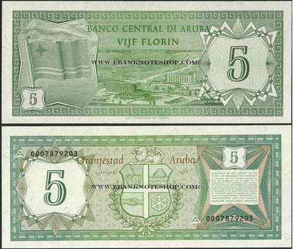 Picture of Aruba,P1,B101,5 Florin,1986