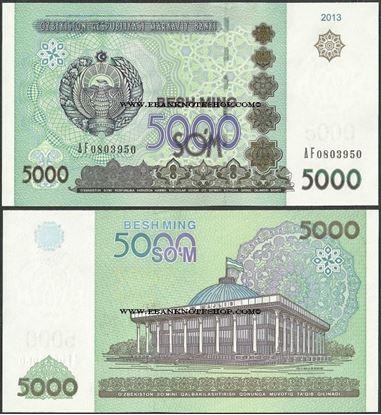 Picture of Uzbekistan,P83,B213,5000 Som,2013