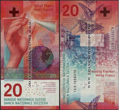 Picture of Switzerland,P76,B356,20 Francs,2017