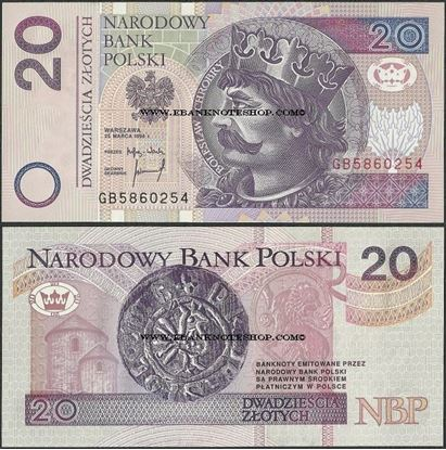 Picture of Poland,P174b,B855b,20 Zloty,1994