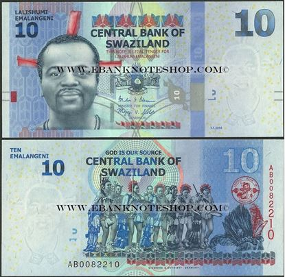 Picture of Swaziland,P36b,B231b,10 Emalangeni,2014