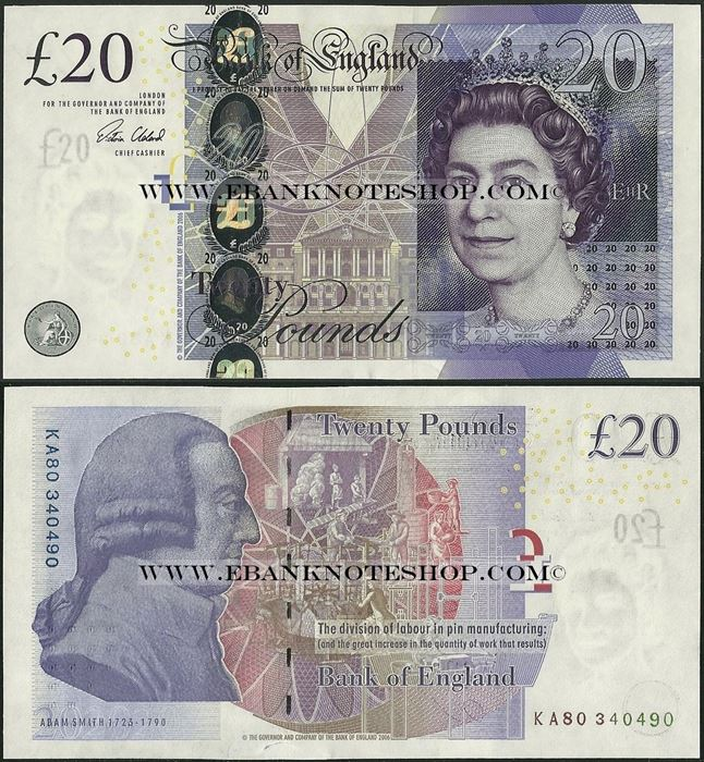 Picture of England,P392c,B201c,20 Pounds,Sg V Cleland