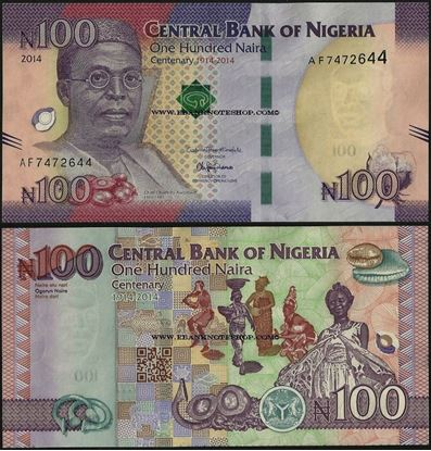 Picture of Nigeria,P41,B238a,100 Naira,2014