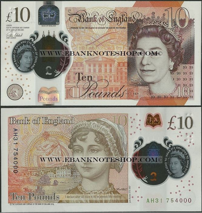2017 Jane Austen UNC /> Polymer P-New QEII Great Britain 10 pounds