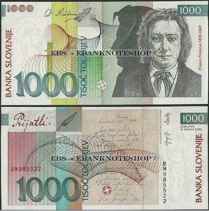 Picture of Slovenia,P32a,B308d,1000 Tolarjev,2003