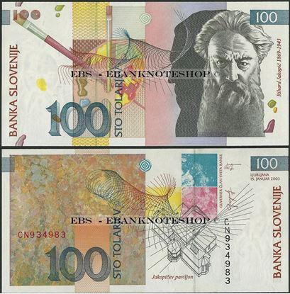 Picture of Slovenia,P31a,B304b,100 Tolarjev,2003