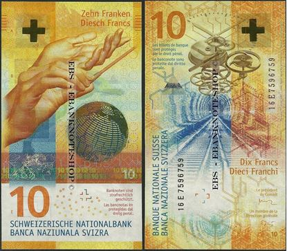 Picture of Switzerland,P75,B355,10 Francs,2017