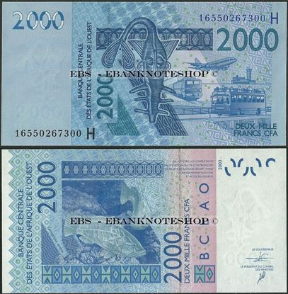Picture of WAS H Niger,P616H, B122Hp,2000 Francs,2016