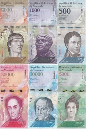 Picture of Venezuela, P94-P99,6 note set,500 to 20K Bolivares, 2016