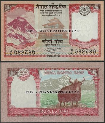 Picture of Nepal,P76,B287,5 Rupees,2017