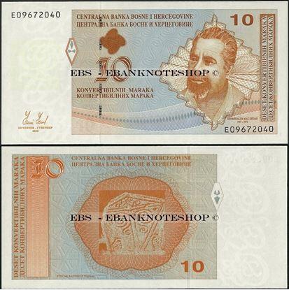 Picture of Bosnia & Herzegovina,P72a,10 Convertible Marka,2008