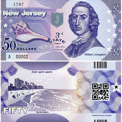 Picture of US State Dollar,3rd state ,New Jersey,50 State Dollars