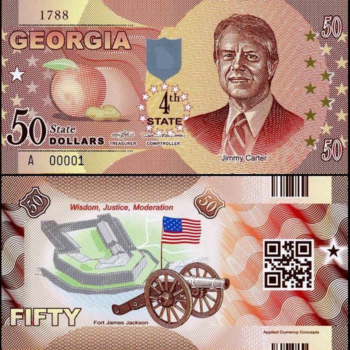 $50 Polymer Georgia ND P-N//L USA States UNC Jimmy Carter 2014