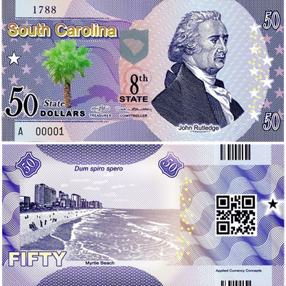 Picture of US State Dollar,8th State ,South Carolina,50 State Dollars