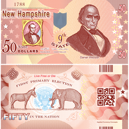 Picture of US State Dollar,9th State ,New Hampshire,50 State Dollars