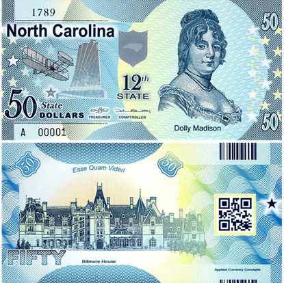 Picture of US State Dollar,12th State ,North Carolina,50 State Dollars