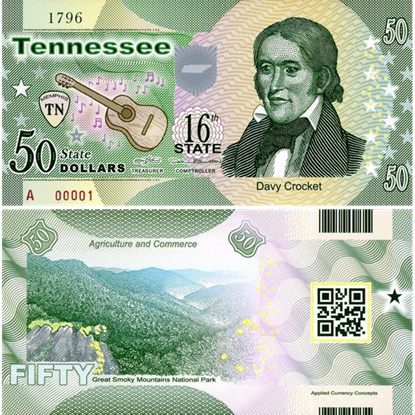 Picture of US State Dollar,16th State ,Tennessee,50 State Dollars