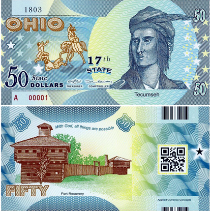 Picture of US State Dollar,17th State , Ohio,50 State Dollars