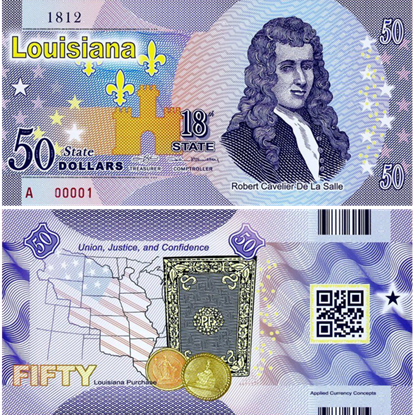 Picture of US State Dollar,18th State, Louisiana,50 State Dollars