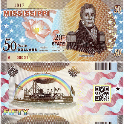 Picture of US State Dollar,20th State, Mississippi,50 State Dollars