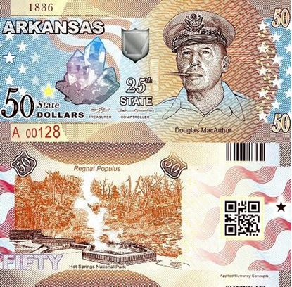 Picture of US State Dollar,25th State, Arkansas,50 State Dollars
