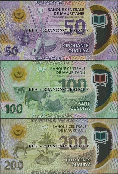 Mauritania 100 Ouguiya p-new 2017 UNC Polymer Banknote