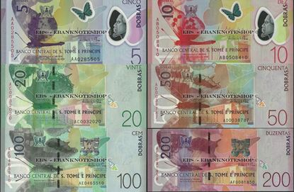Picture of Sao Tome Principe,6 Note SET,5 - 200 Dobras,2018