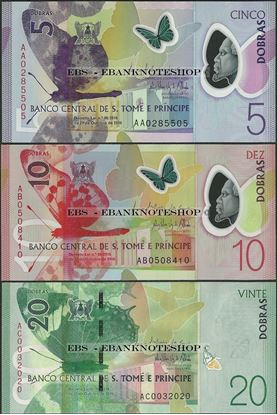 Picture of Sao Tome Principe,3 Note SET,5 - 20 Dobras,2018