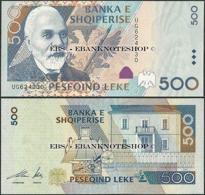 Picture of Albania,P68,B317a,500 Leke,2001