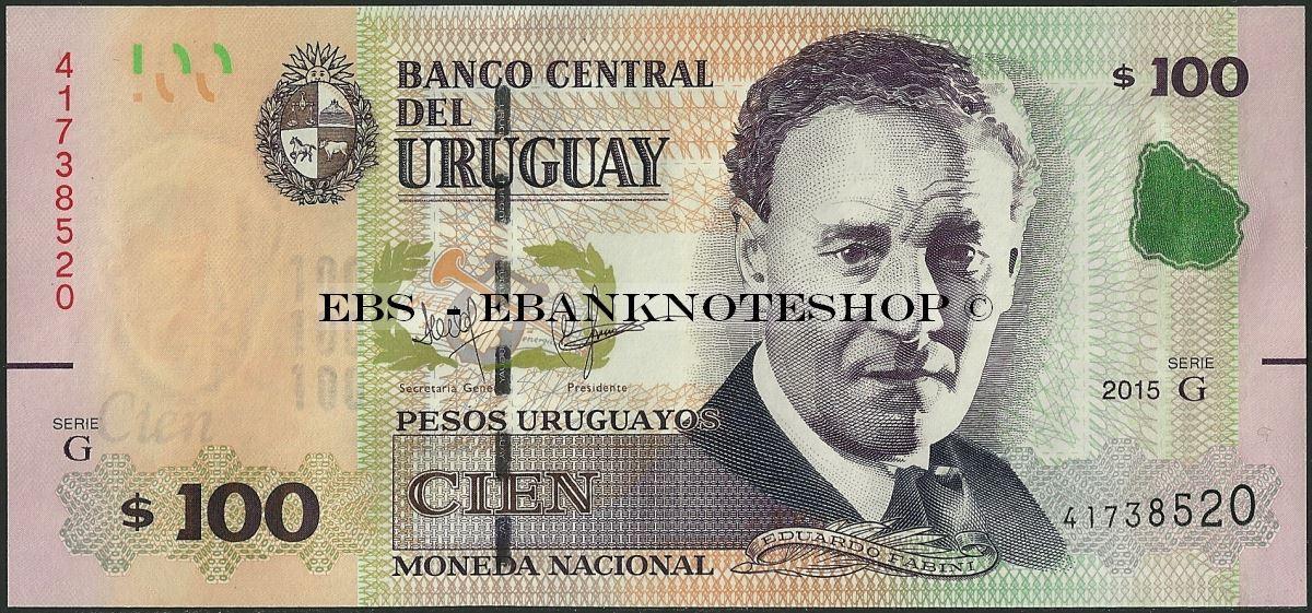 Ebanknoteshop. Uruguay,P095B,B554,100 Pesos Uruguayos,2015