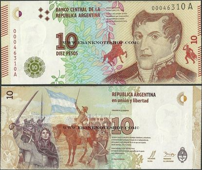 Picture of Argentina,P360,B416a,10 Pesos,2016