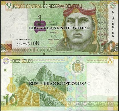 Picture of Peru,P192,B532a,10 Soles,2016