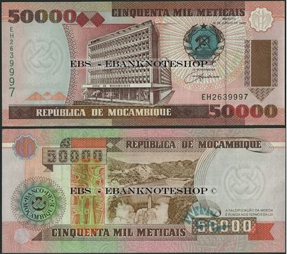 Picture of Mozambique,P138,B224,50000 Meticais,1993