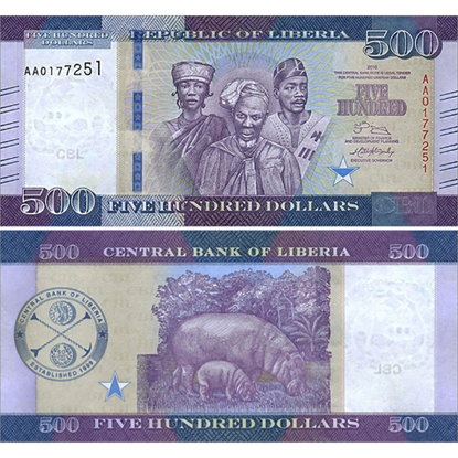Picture of Liberia,P36,B316a,500 Dollars,2016