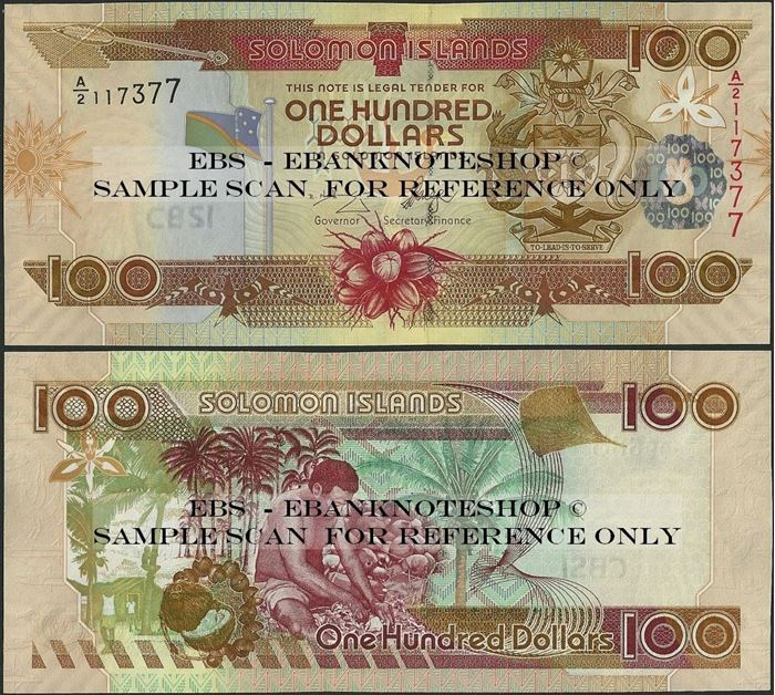Picture of Solomon Islands,P30,B220a,100 Dollars,A/2,2006