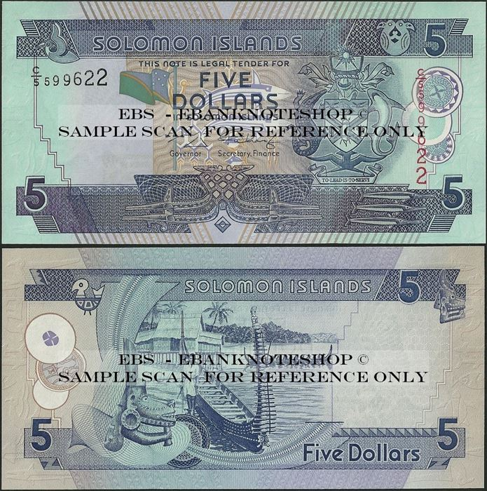 Picture of Solomon Islands,P26,B216b,5 Dollars,2004,C/5