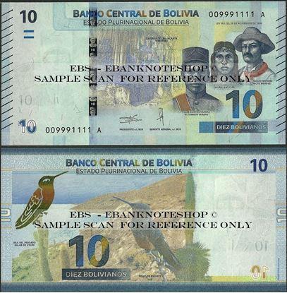 Picture of Bolivia,P248,B417a,10 Bolivianos,2018