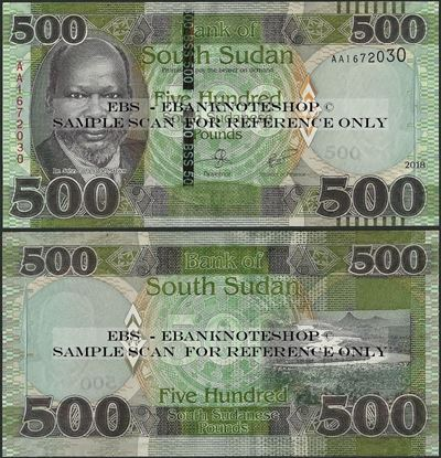 Picture of South Sudan,B116,PNL,500 Pounds,2018