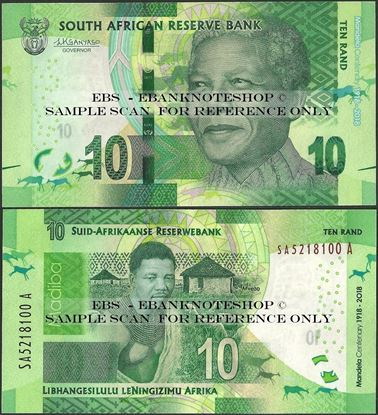 Picture of South Africa,P143,B772a,10 Rands,2018