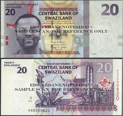 Picture of Swaziland,P37b,B232b,20 Emalangeni,2014