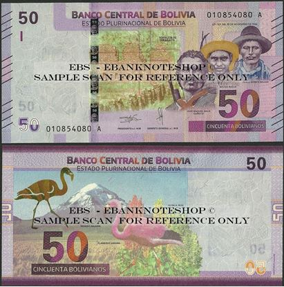 Picture of Bolivia,P250,B419a,50 Bolivianos,2018