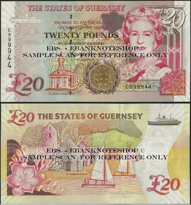 Picture of Guernsey, P58c,B166a,20 Pounds,2009,C