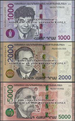 Picture of Armenia,3 NOTE SET - B319- B322,1000 - 5000 Dram,2018